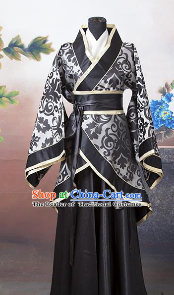 Asian China Ancient Han Dynasty Palace Lady Costume, Traditional Chinese Hanfu Embroidered Black Curve Bottom Clothing for Women