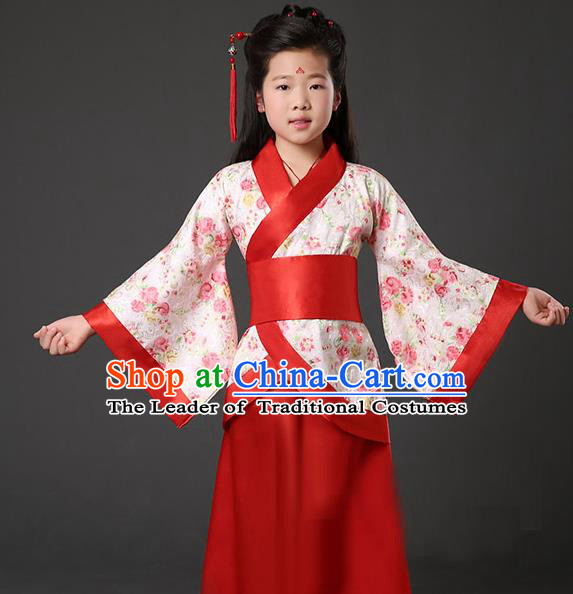 Asian China Ancient Han Dynasty Palace Lady Costume, Traditional Chinese Hanfu Embroidered Red Curve Bottom Clothing for Kids