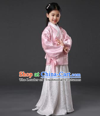 Asian China Ancient Ming Dynasty Palace Lady Costume, Traditional Chinese Hanfu Embroidered Clothing for Kids