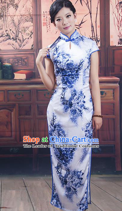 Traditional Ancient Chinese Republic of China Cheongsam, Asian Chinese Chirpaur Blue Long Qipao Dress Clothing for Women