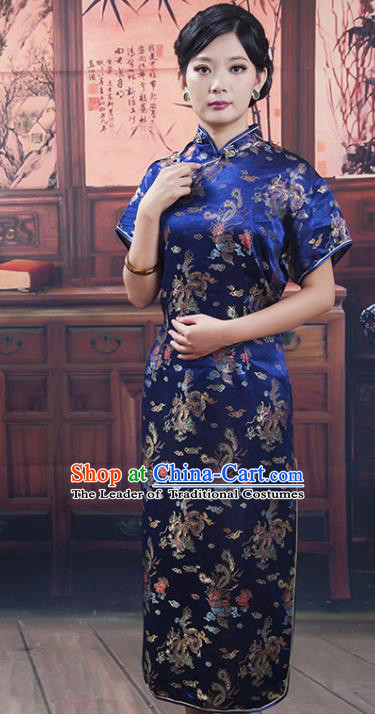Traditional Ancient Chinese Republic of China Cheongsam, Asian Chinese Chirpaur Long Blue Qipao Dress Clothing for Women