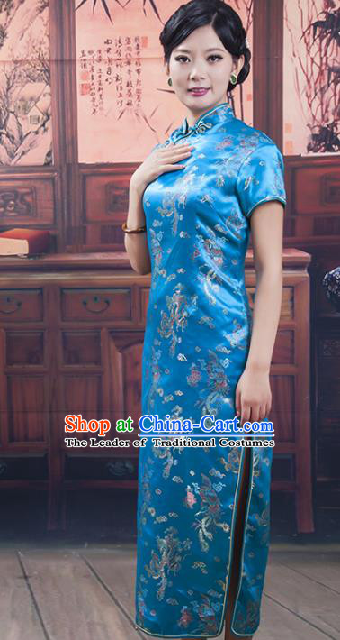 Traditional Ancient Chinese Republic of China Cheongsam, Asian Chinese Chirpaur Peacock Blue Silk Embroidered Qipao Dress Clothing for Women