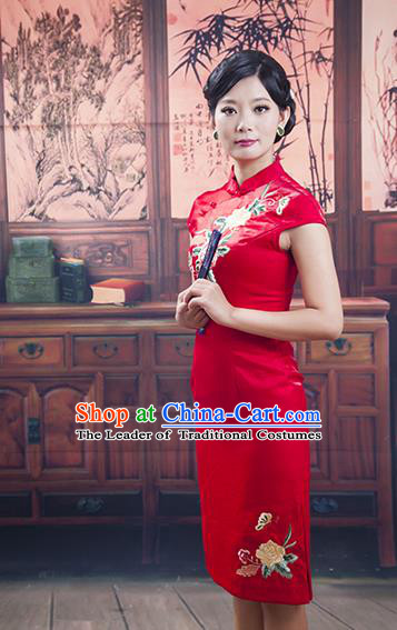 Traditional Ancient Chinese Republic of China Cheongsam, Asian Chinese Chirpaur Red Embroidered Qipao Dress Clothing for Women