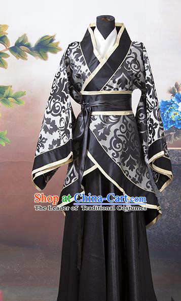 Asian China Ancient Han Dynasty Princess Costume, Traditional Chinese Palace Lady Hanfu Embroidered Black Clothing for Women