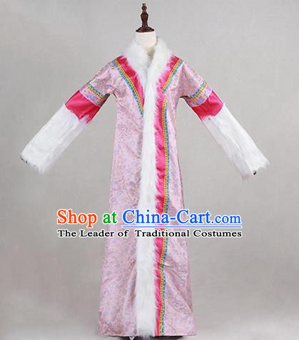 Traditional Ancient Chinese Imperial Consort Costume Pink Cloak, Chinese Qing Dynasty Manchu Lady Embroidered Clothing for Women