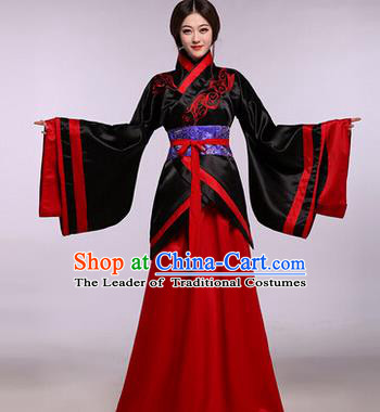 Traditional Ancient Chinese Imperial Princess Costume, Elegant Hanfu Chinese Han Dynasty Imperial Empress Embroidered Black Clothing for Women
