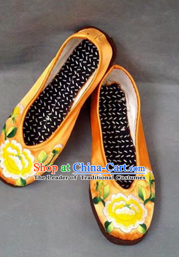 Traditional Chinese National Yellow Shoes Embroidered Shoes, China Handmade Shoes Hanfu Embroidery Shoes for Women