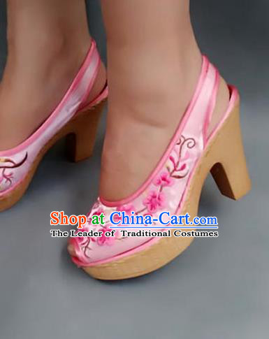 Traditional Chinese National Embroidered Shoes Pink High-heeled Shoes, China Handmade Shoes Hanfu Embroidery Shoes for Women
