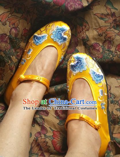 Traditional Chinese National Embroidered Shoes Yellow Satin Shoes, China Handmade Shoes Hanfu Embroidery Shoes for Women