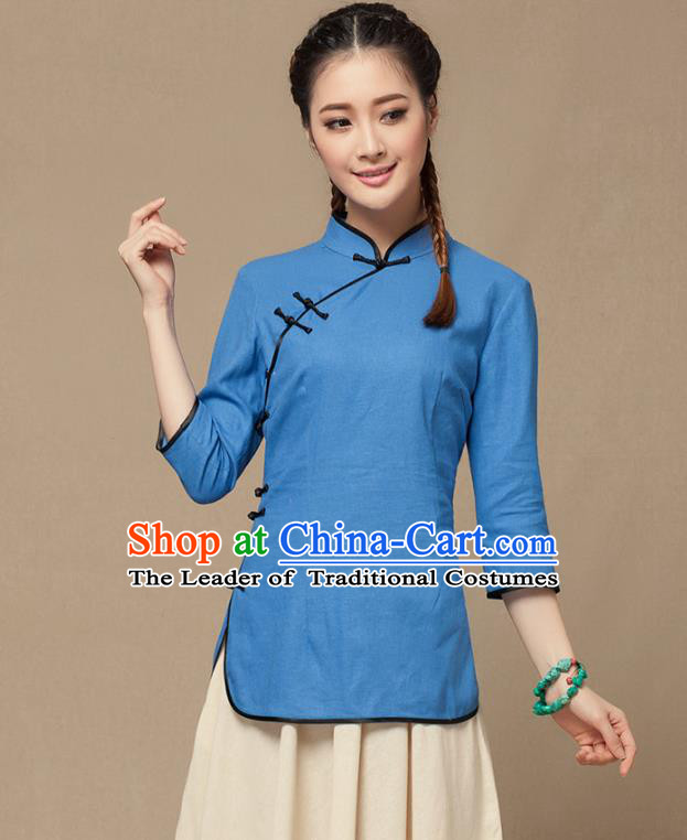 Traditional Chinese National Costume Elegant Hanfu Plated Button Blue Shirt, China Tang Suit Slant Opening Upper Outer Garment Cheongsam Blouse for Women