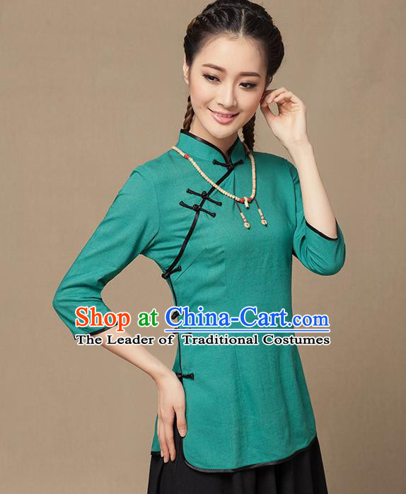 Traditional Chinese National Costume Elegant Hanfu Plated Button Green Shirt, China Tang Suit Slant Opening Upper Outer Garment Cheongsam Blouse for Women