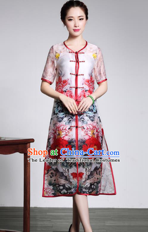 Traditional Chinese National Costume Elegant Hanfu Cheongsam Printing Peony Coat, China Tang Suit Plated Buttons Chirpaur Dust Coat for Women