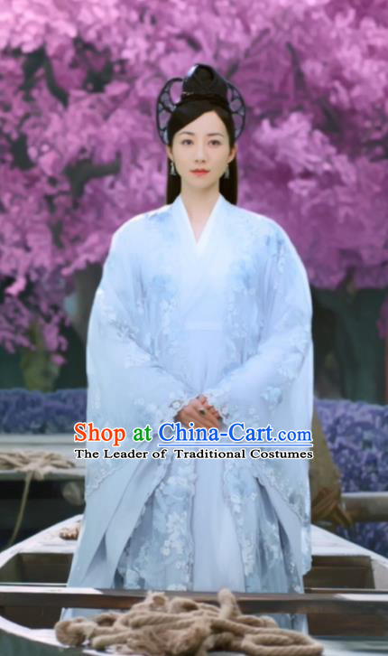 Asian China Han Dynasty Imperial Princess Costume and Headpiece Complete Set, Traditional Chinese Ancient Fairy Embroidered Clothing for Women