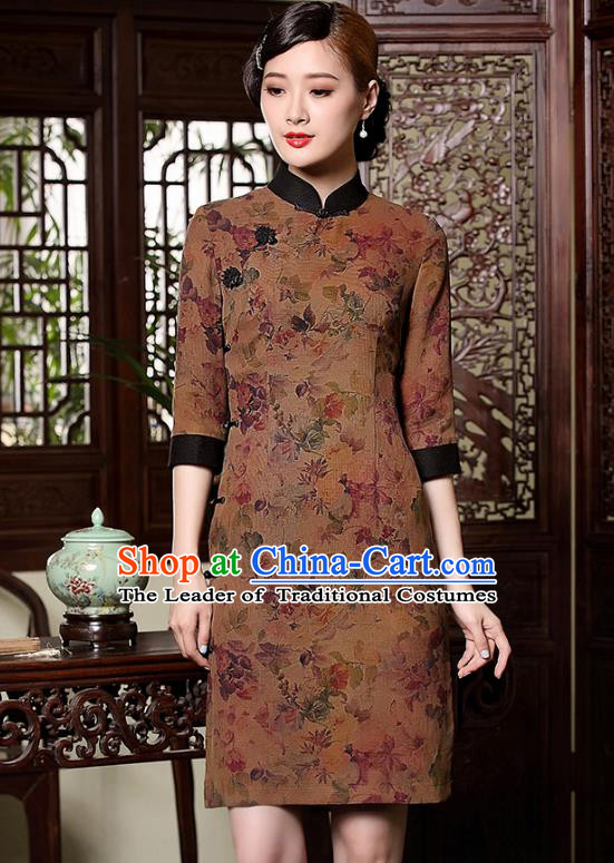 Asian Republic of China Young Lady Retro Stand Collar Watered Gauze Cheongsam Dress, Traditional Chinese Qipao Tang Suit Clothing for Women