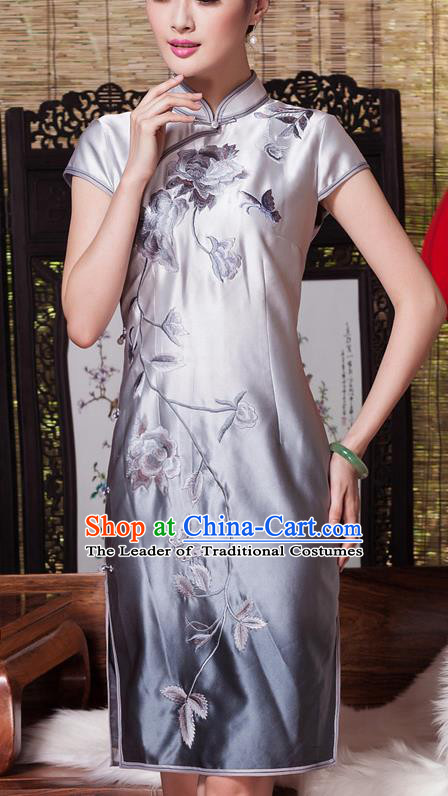 Asian Republic of China Young Lady Retro Plated Buttons Silk Embroidered Cheongsam, Traditional Chinese Wedding Qipao Tang Suit Dress for Women