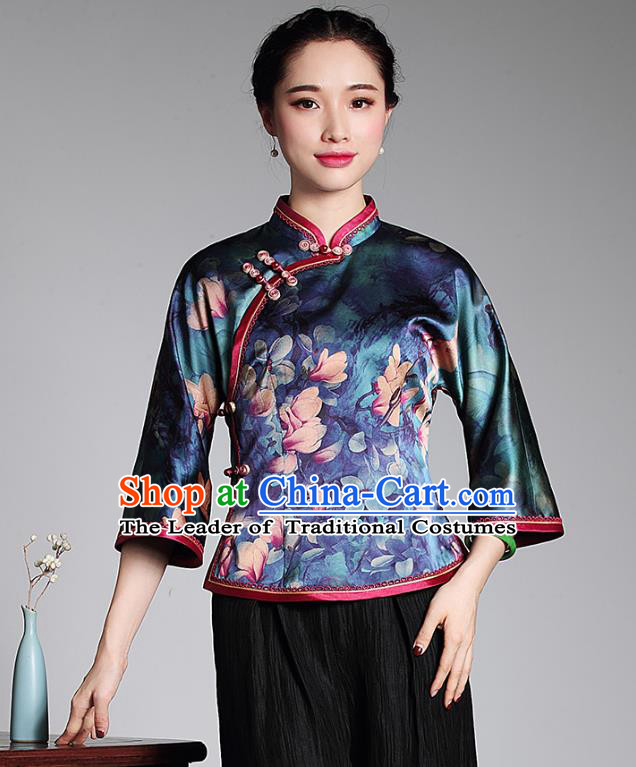 Asian Republic of China Young Lady Retro Plated Buttons Silk Embroidered Cheongsam Blouse, Traditional Chinese Qipao Shirts Tang Suit Upper Outer Garment for Women