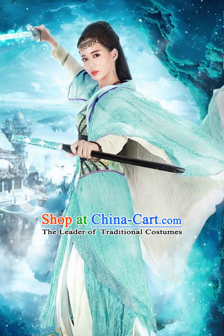 Asian China Tang Dynasty Palace Lady Swordswoman Costume, Traditional Chinese Ancient Imperial Princess Embroidered Hanfu Clothing and Headpiece Complete Set