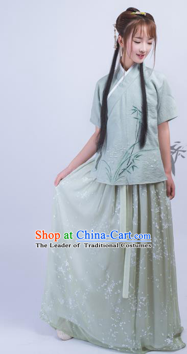 Asian China Ming Dynasty Palace Lady Costume Complete Set, Traditional Chinese Ancient Princess Embroidered Hanfu Blouse and Slip Dress for Women