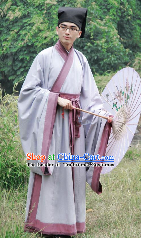 Asian China Han Dynasty Scholar Costume Grey Long Robe, Traditional Chinese Ancient Chancellor Hanfu Clothing for Men