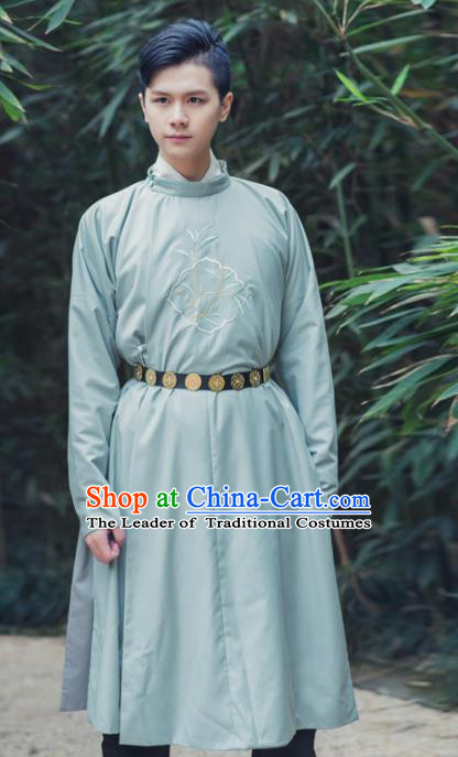 Asian China Tang Dynasty Swordsman Costume, Traditional Chinese Ancient Embroidered Hanfu Robe Clothing for Men