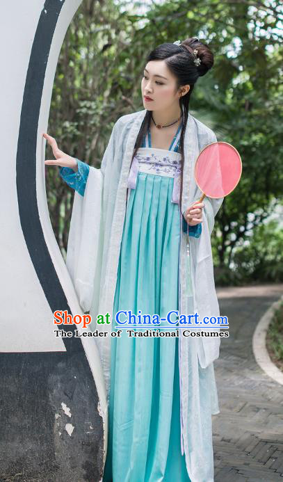 Asian China Tang Dynasty Palace Lady Costume Princess Embroidery Wide Sleeve Blouse and Skirt Complete Set