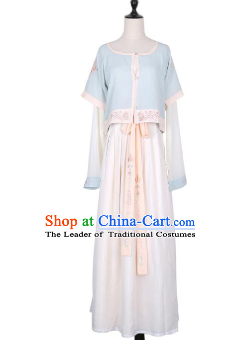 Asian China Tang Dynasty Palace Lady Embroidered Costume, Traditional Ancient Chinese Princess Embroidery Hanfu Clothing for Women