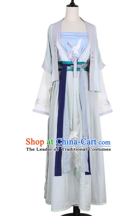 Asian China Song Dynasty Palace Lady Embroidered Costume, Traditional Ancient Chinese Princess Embroidery Hanfu Clothing for Women