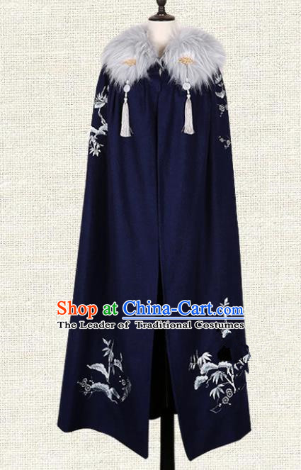 Asian China Jin Dynasty Swordsman Costume Navy Long Cape, Traditional Ancient Chinese Elegant Hanfu Kawaler Mantle for Men