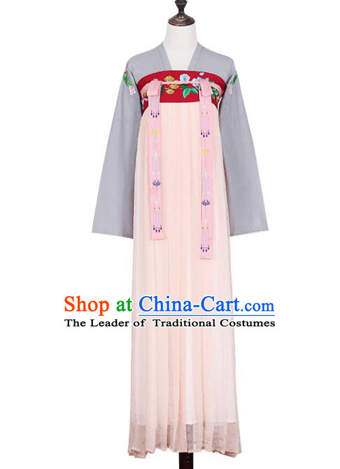 Asian China Tang Dynasty Young Lady Embroidered Costume, Traditional Ancient Chinese Imperial Concubine Elegant Hanfu Slip Skirt Clothing for Women