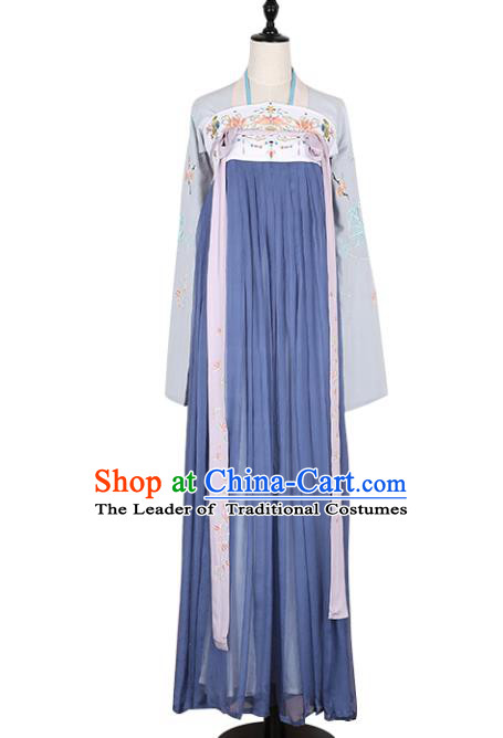 Asian China Tang Dynasty Imperial Princess Clothing Embroidered Slip Skirt, Traditional Ancient Chinese Palace Lady Hanfu Clothing for Women