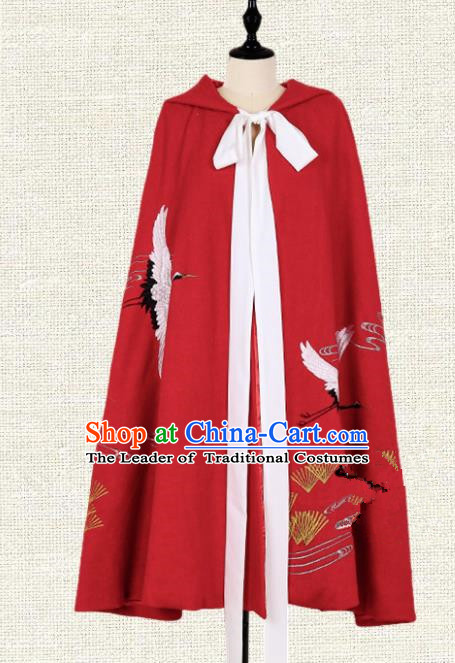 Asian China Ming Dynasty Swordsman Embroidered Crane Red Cape, Traditional Ancient Chinese Palace Lady Elegant Hanfu Mantle for Women