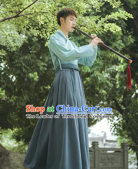 Asian China Han Dynasty Swordsman Embroidered Costume, Traditional Ancient Chinese Elegant Hanfu Green Clothing for Men