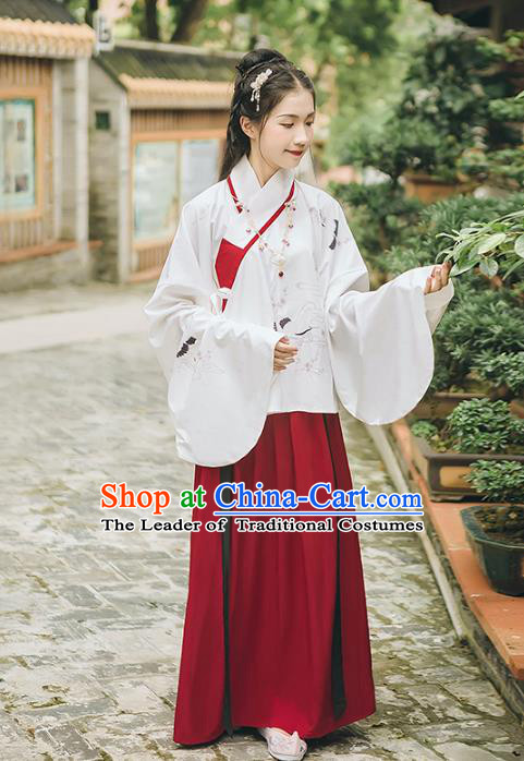 Asian China Ming Dynasty Princess Costume Embroidered Blouse and Skirt, Traditional Ancient Chinese Elegant Princess Hanfu Clothing for Women