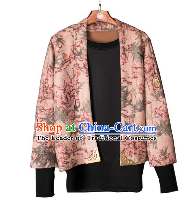 Asian China National Costume Printing Jacket, Traditional Chinese Tang Suit Coat Clothing for Men