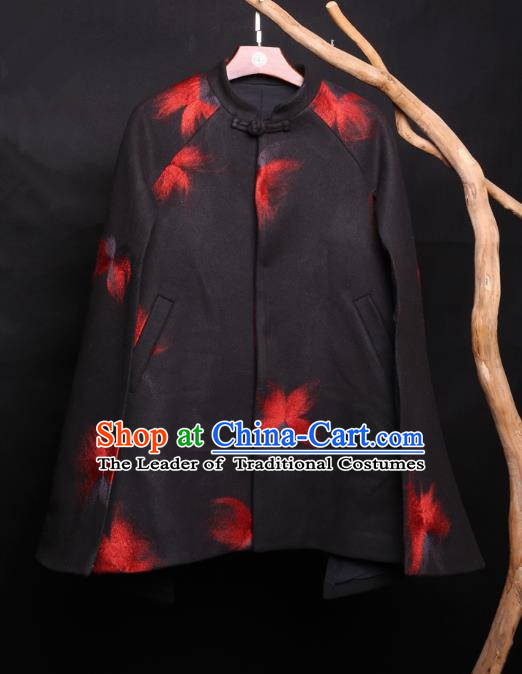 Asian China National Costume Woolen Printing Coat, Traditional Chinese Tang Suit Jacket Clothing for Men