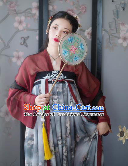 Asian China Tang Dynasty Young Lady Printing Slip Skirt Costume Complete Set, Traditional Ancient Chinese Princess Hanfu Clothing for Women
