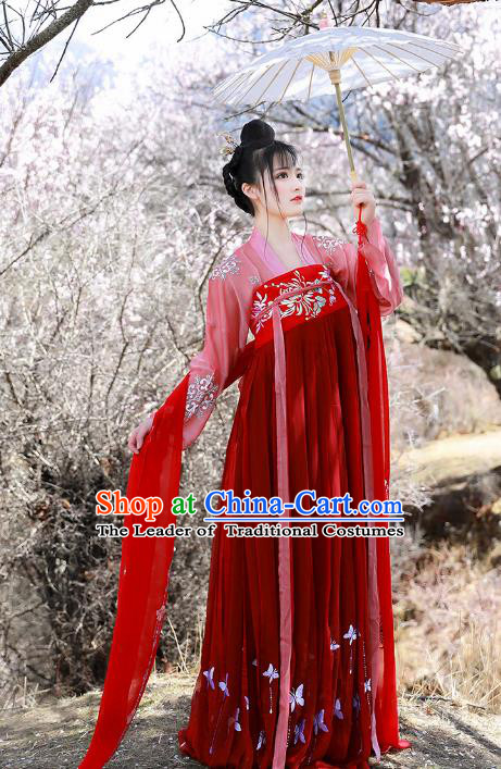 Asian China Tang Dynasty Princess Red Slip Skirt Costume, Traditional Ancient Chinese Palace Lady Embroidered Elegant Hanfu Clothing for Women