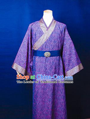Traditional Ancient Chinese Emperor Costume, Asian Chinese Han Dynasty Majesty Purple Robe Clothing for Men