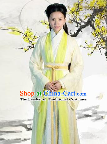Traditional Ancient Chinese Imperial Princess Costume, Chinese Han Dynasty Young Lady Green Dress Clothing for Women