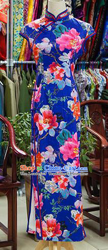 Traditional Ancient Chinese Republic of China Cheongsam, Asian Chinese Chirpaur Printing Flowers Blue Qipao Dress Clothing for Women