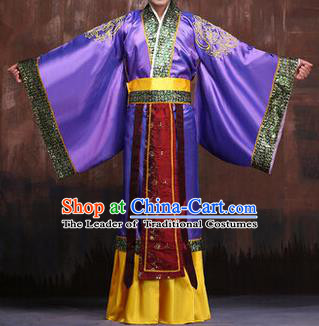 Traditional Ancient Chinese Emperor Royal Highness Costume, Asian Chinese Han Dynasty Majesty Purple Clothing for Men