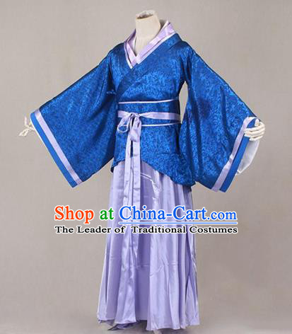Asian China Ancient Han Dynasty Palace Lady Costume, Traditional Chinese Hanfu Embroidered Blue Curve Bottom Clothing for Women
