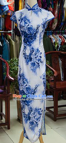 Traditional Ancient Chinese Republic of China Blue Printing Cheongsam, Asian Chinese Chirpaur Qipao Dress Clothing for Women