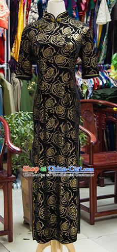 Traditional Ancient Chinese Republic of China Black Cheongsam, Asian Chinese Chirpaur Qipao Dress Clothing for Women