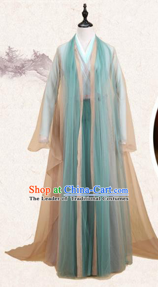 Traditional Ancient Chinese Imperial Consort Fairy Costume, Elegant Hanfu Clothing Chinese Tang Dynasty Empress Green Clothing for Women