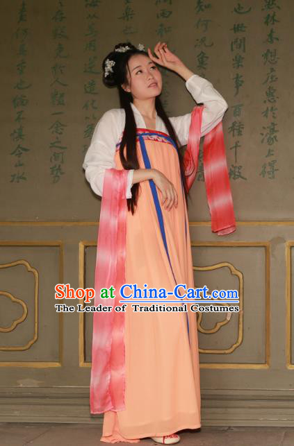 Traditional Ancient Chinese Imperial Princess Hanfu Costume, Asian China Tang Dynasty Palace Lady Orange Dress Clothing for Women