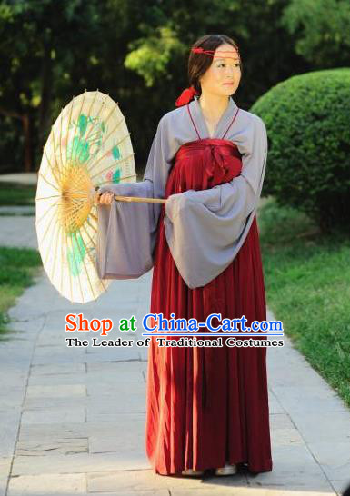 Traditional Chinese Ancient Palace Lady Costume Complete Set, Asian China Tang Dynasty Imperial Concubine Clothing for Women
