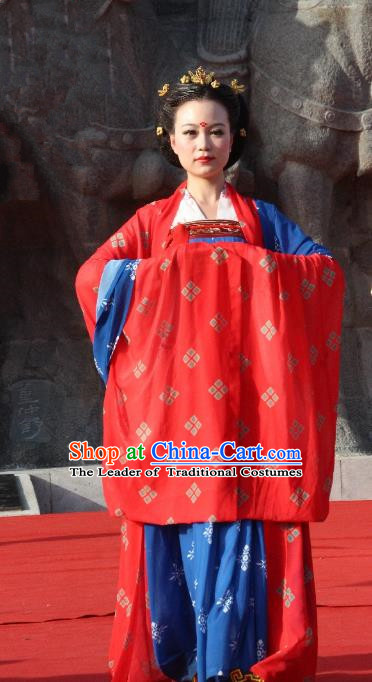Traditional Chinese Ancient Palace Lady Wedding Costume Complete Set, Asian China Tang Dynasty Imperial Concubine Dress Clothing for Women