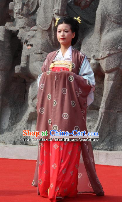 Traditional Chinese Ancient Palace Lady Brown Costume Complete Set, Asian China Tang Dynasty Imperial Concubine Dress Clothing for Women