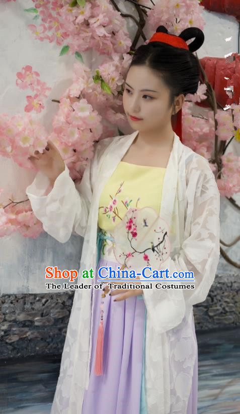 Traditional Chinese Ancient Costume Palace Lady White Embroidered BeiZi, Asian China Song Dynasty Imperial Princess Cardigan Clothing for Women
